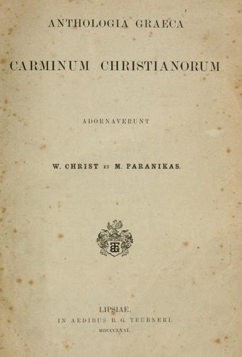 Anthologia graeca carminum christianorum