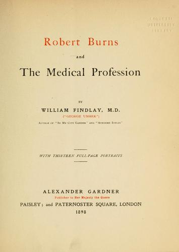 Robert Burns and the medical profession.