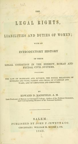 The legal rights, liabilities and duties of women