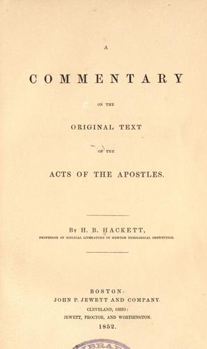 Download A commentary on the original text of the Acts of the Apostles