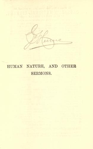 Human nature, and other sermons.