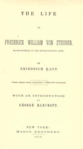Life of Frederick William von Steuben