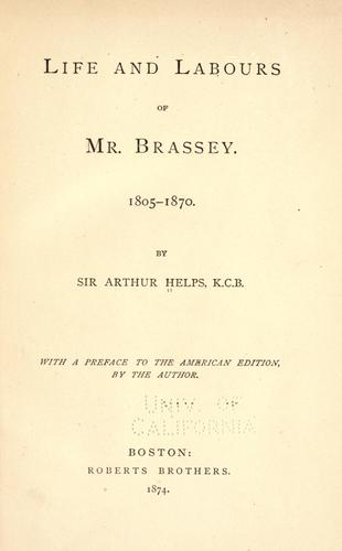 Life and labours of Mr. Brassey