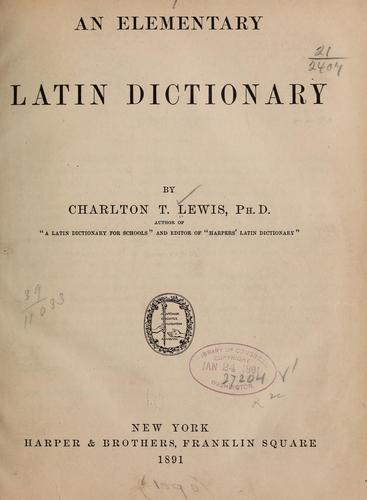 Download An elementary Latin dictionary