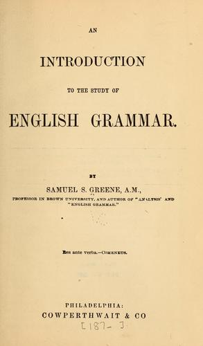 An introduction to the study of English grammar.