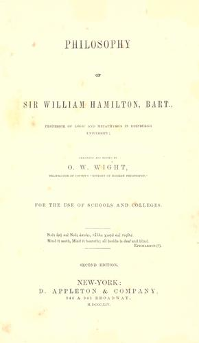 Download Philosophy of Sir William Hamilton, Bart