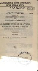 An assessment of recent developments in the Horn of Africa by United States. Congress. House. Committee on Foreign Affairs. Subcommittee on Africa.