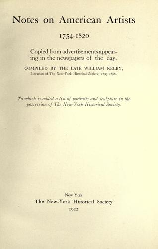 Download Notes on American artists, 1754-1820