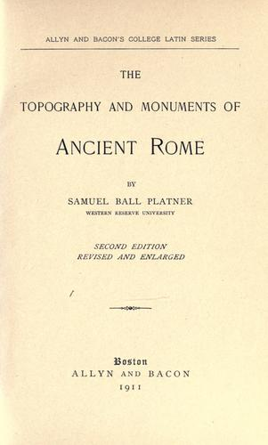 Download The topography and monuments of ancient Rome