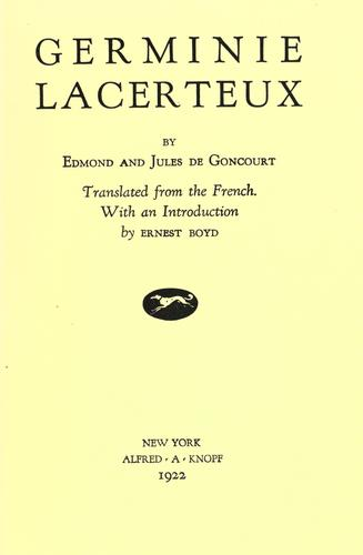 Germinie Lacerteux by Edmond de Goncourt