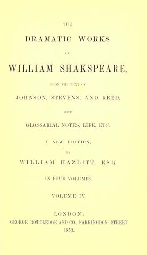 The dramatic works of William Shakspeare sic