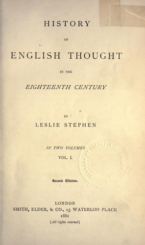 History of English thought in the eighteenth century.