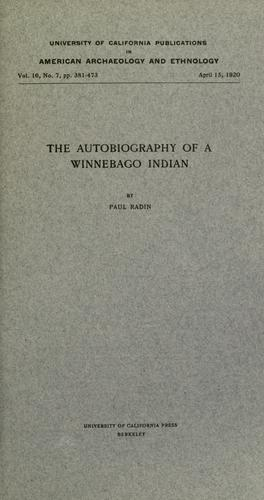 Download The autobiography of a Winnebago Indian