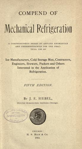 Download Compend of mechanical refrigeration
