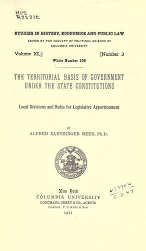 The territorial basis of government under the state constitutions