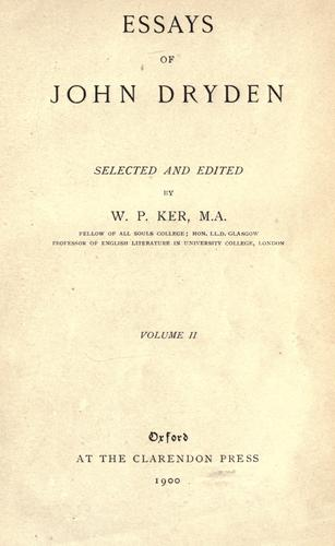 Download Essays of John Dryden