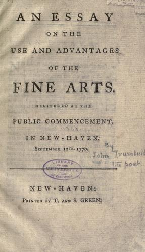 An essay on the use and advantages of the fine arts.