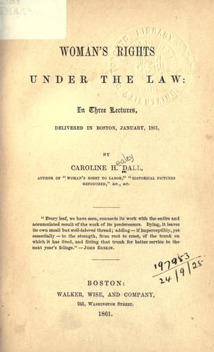 Woman's rights under the law