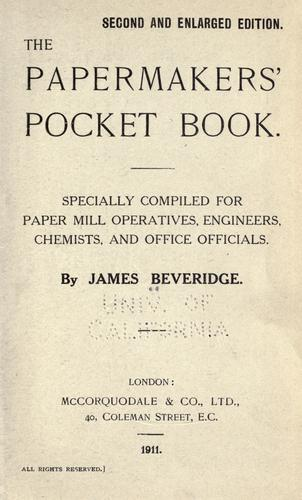 The papermakers' pocket book.