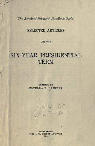 Download Selected articles on the six-year presidential term