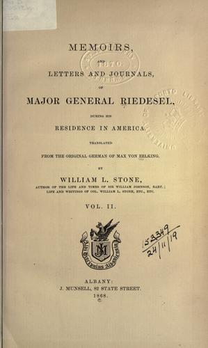 Memoirs and letters and journals of Major General Riedesel during his residence in America