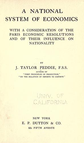 Download A national system of economics