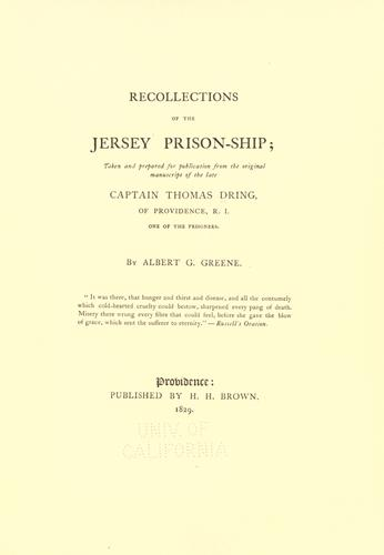Download Recollections of the Jersey prison-ship