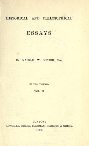 Historical and philosophical essays.