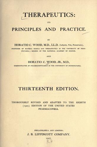 Therapeutics: its principles and practice.