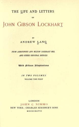 Download The life and letters of John Gibson Lockhart