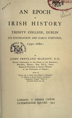 Download An epoch in Irish history
