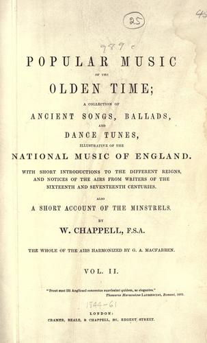 Popular music of the olden time