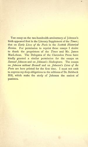 Six essays on Johnson