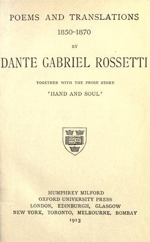 Download Poems & translations, 1850-1870