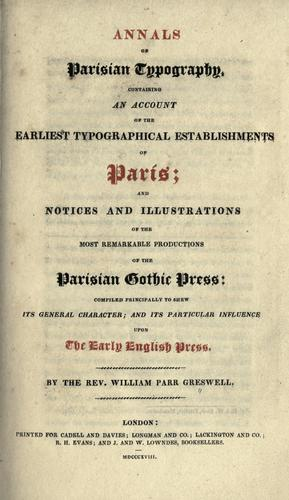 Annals of Parisian typography