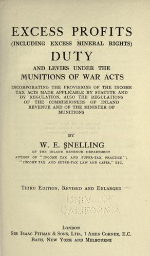 Download Excess profits, (including excess mineral rights) duty and levies under the Munitions of War Acts