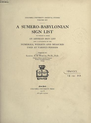 A Sumero-Babylonian sign list