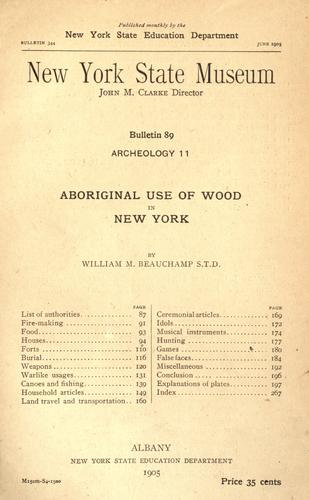 Aboriginal use of wood in New York