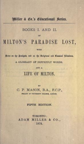 Download Books I. and II. of Milton's Paradise lost