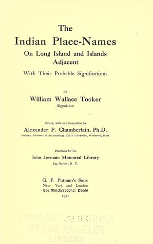 Download The Indian place-names on Long island and islands adjacent, with their probable significations