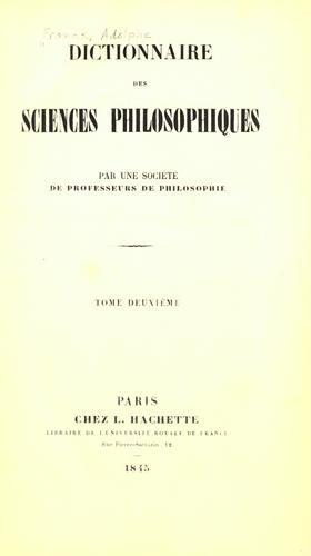 Download Dictionnaire des sciences philosophiques