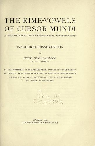 Download The rime-vowels of Cursor mundi