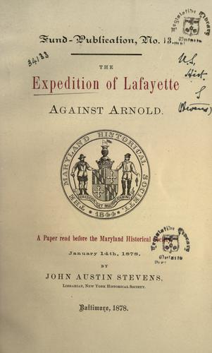 Download The expedition of Lafayette against Arnold