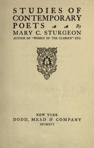 Studies of contemporary poets.