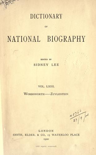 Dictionary of national biography by Edited by Sidney Lee