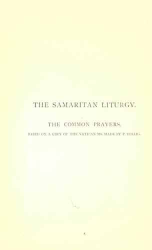 The Samaritan Liturgy by