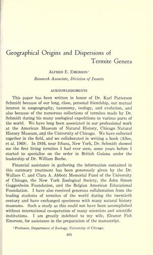 Geographical origins and dispersions of termite genera by Alfred Edwards Emerson