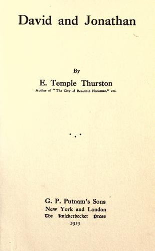 David and Jonathan by Ernest Temple Thurston