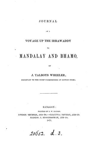 Journal of a voyage up the Irrawaddy to Mandalay and Bhamo by James Talboys Wheeler