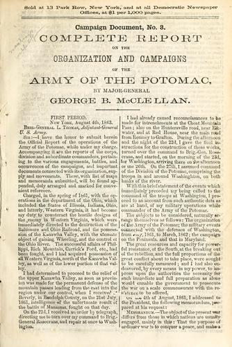 Complete report on the organization and campaigns of the Army of the Potomac
